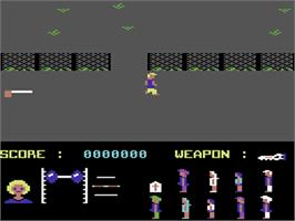 In game image of Friday the 13th on the Commodore 64.