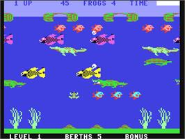In game image of Frogger II: Three Deep on the Commodore 64.