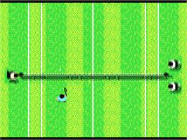 In game image of G.P. Tennis Manager on the Commodore 64.