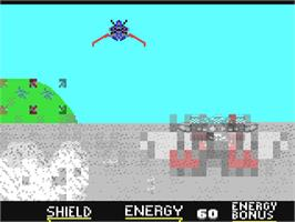 In game image of Galaxy Force II on the Commodore 64.