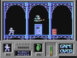 In game image of Game Over on the Commodore 64.