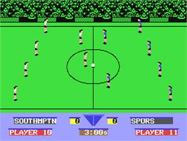 In game image of Gazza's Super Soccer on the Commodore 64.