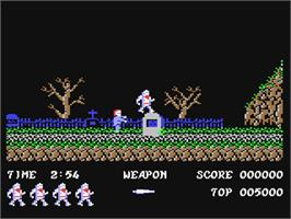 In game image of Ghosts'n Goblins on the Commodore 64.