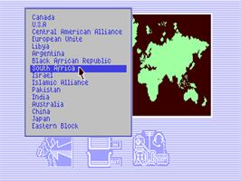In game image of Global Commander on the Commodore 64.