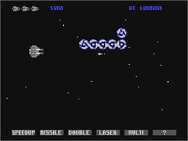 In game image of Gradius on the Commodore 64.