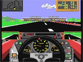 In game image of Grand Prix Circuit on the Commodore 64.