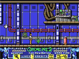 In game image of Gremlins 2: The New Batch on the Commodore 64.