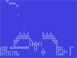 In game image of Guns of Fort Defiance on the Commodore 64.