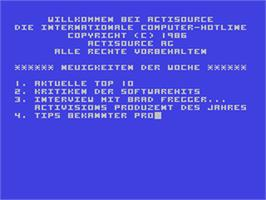 In game image of Hacker II: The Doomsday Papers on the Commodore 64.