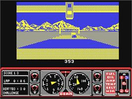 In game image of Hard Drivin' on the Commodore 64.