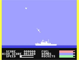 In game image of Harrier Attack on the Commodore 64.