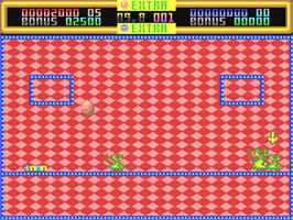 In game image of Helter Skelter on the Commodore 64.