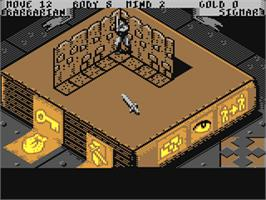 In game image of Hero Quest: Return of the Witch Lord on the Commodore 64.