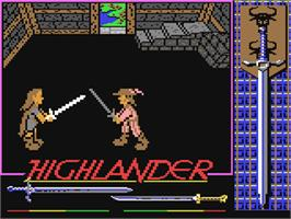 In game image of Highlander on the Commodore 64.