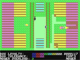 In game image of Hover Bovver on the Commodore 64.