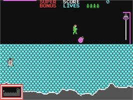 In game image of Hunchback on the Commodore 64.