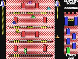 In game image of Hunchback II: Quasimodo's Revenge on the Commodore 64.