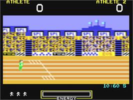 In game image of Hunchback at the Olympics on the Commodore 64.