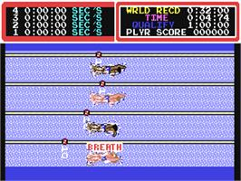In game image of Hyper Sports on the Commodore 64.