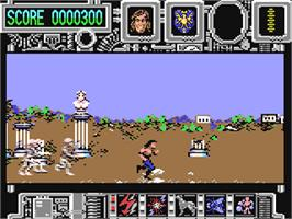 In game image of Hysteria on the Commodore 64.