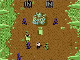 In game image of Ikari Warriors on the Commodore 64.