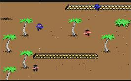 In game image of Ikari Warriors II: Victory Road on the Commodore 64.
