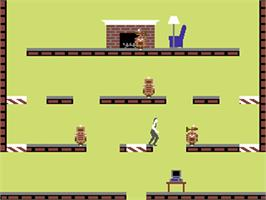 In game image of Impossible Mission on the Commodore 64.