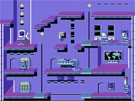 In game image of Impossible Mission II on the Commodore 64.