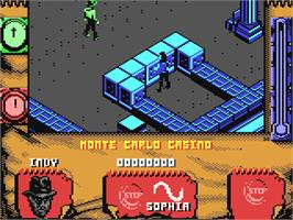 In game image of Indiana Jones and The Fate of Atlantis: The Action Game on the Commodore 64.