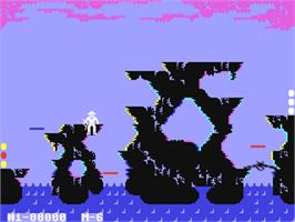 In game image of Indiana Jones in the Lost Kingdom on the Commodore 64.