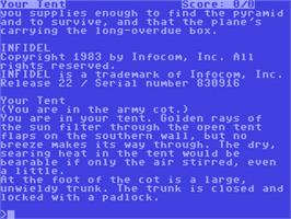 In game image of Infidel on the Commodore 64.