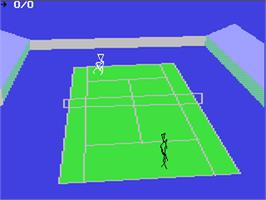 In game image of International 3D Tennis on the Commodore 64.