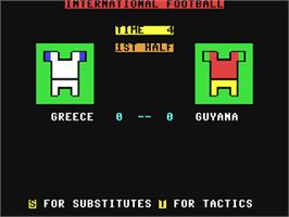 In game image of International Football on the Commodore 64.