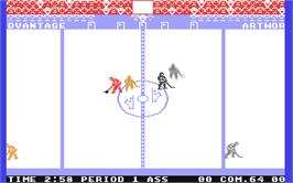 In game image of International Hockey on the Commodore 64.