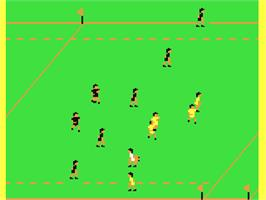 In game image of International Rugby Simulator on the Commodore 64.