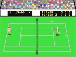 In game image of International Tennis on the Commodore 64.