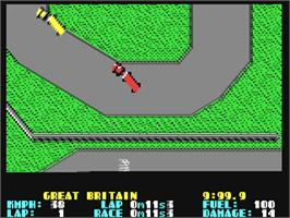 In game image of International Truck Racing on the Commodore 64.