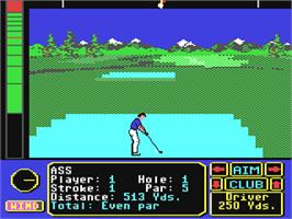 In game image of Jack Nicklaus' Greatest 18 Holes of Major Championship Golf on the Commodore 64.