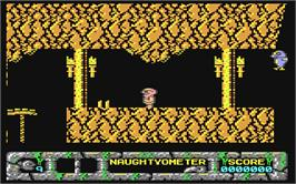 In game image of Jack the Nipper 2: In Coconut Capers on the Commodore 64.
