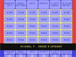 In game image of Jeopardy! on the Commodore 64.