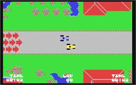 In game image of John Anderson's Rally Speedway on the Commodore 64.