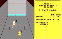 In game image of Jonah Barrington's Squash on the Commodore 64.