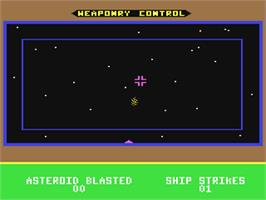 In game image of Jupiter Mission 1999 on the Commodore 64.