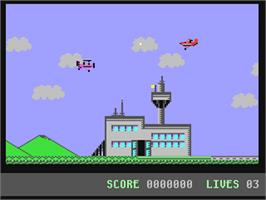 In game image of Kamikaze on the Commodore 64.