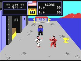 In game image of Karate Champ on the Commodore 64.