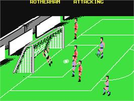 In game image of Kenny Dalglish Soccer Manager on the Commodore 64.