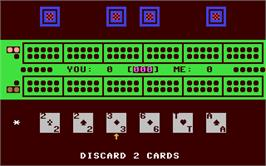 In game image of King Cribbage on the Commodore 64.