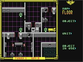 In game image of Laser Squad on the Commodore 64.
