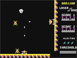 In game image of Laser Zone on the Commodore 64.