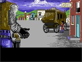 In game image of Law of the West on the Commodore 64.